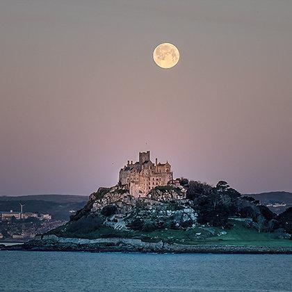 Moon Set over St Michaels Mount