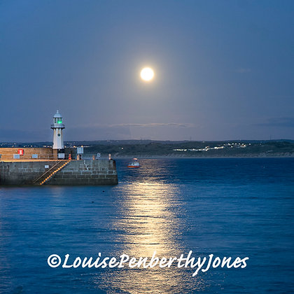 Harvest Moon with Fishing Boat - St Ives