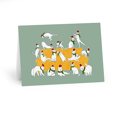Cats Christmas Party Greeting Cards Green (5 Pack)