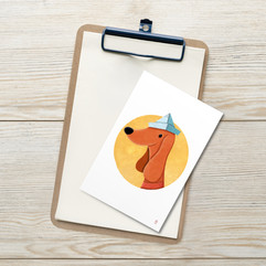 Dog with Paper Hat Postcard