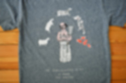 hand-printed organic cotton t-shirt with butcher, sheep and meat cuts