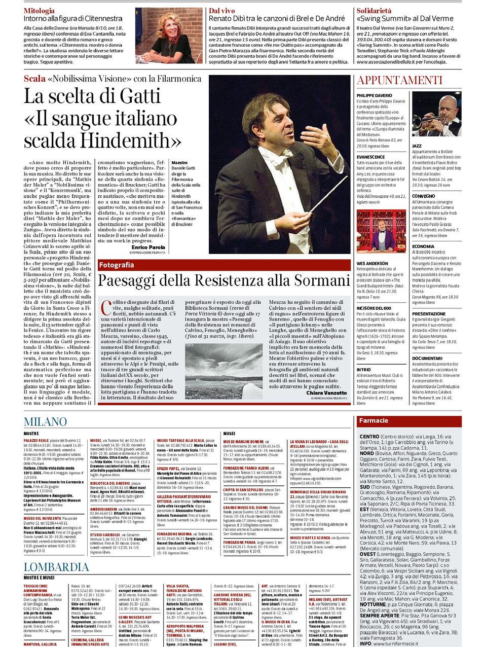 Corriere della sera Ed. Milano 19.03.18