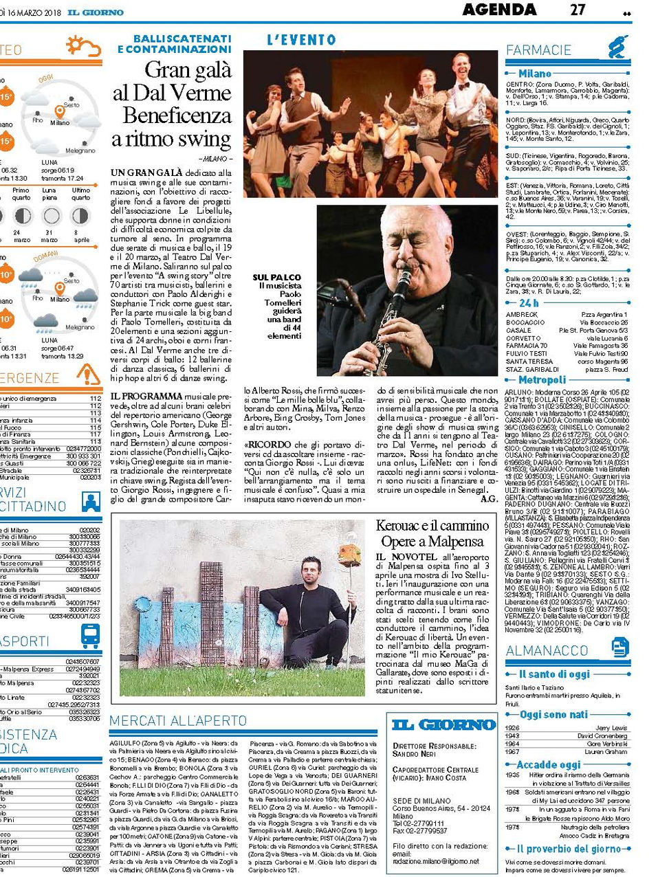 Il Giorno ed. Milano - 16.03.18
