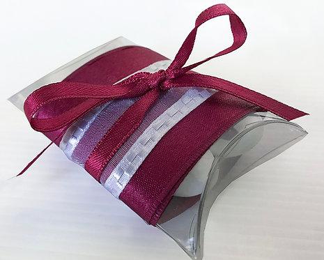 Bomboniera solidale Scatolina trasparente con 5 confetti