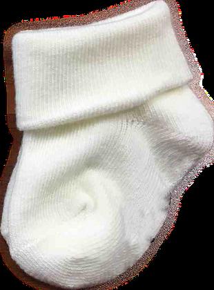 גרביים חלקים - 2 זוגות -0-3 חודש - שמנת