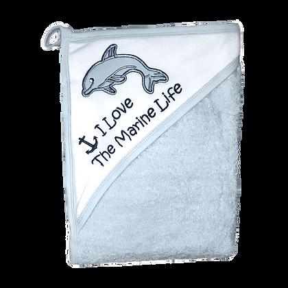 מגבת חיבוקי עם קפוצ'ון עבה וגדולה במיוחד - דולפין תכלת