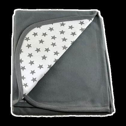 """שמיכה משולבת דו שכבתית - כוכבים בינוני אפור - *90/80 ס""""מ"""