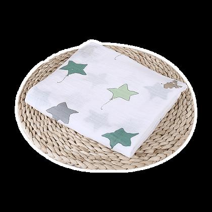 שמיכה / חיתול טטרה -  רך וגדול במיוחד 110/110 - כוכבים
