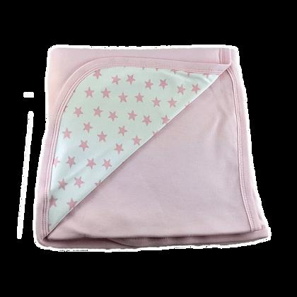 """שמיכה משולבת דו שכבתית - כוכבים בינוני ורוד - *130/90 ס""""מ"""