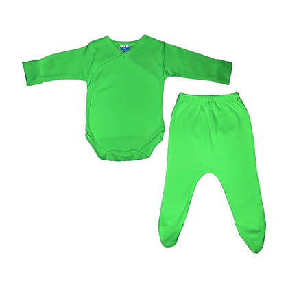 סט בגד גוף חזיה ורגלית לתינוק - פלנל - ירוק