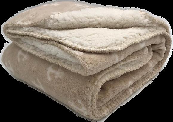 שמיכה פליז דו צדדית - עוגן שמנת
