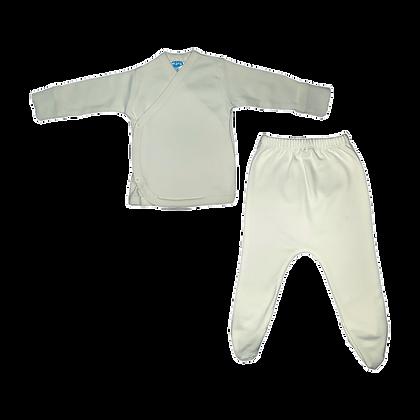 סט חזיה ורגלית לתינוק - פלנל- 100% כותנה - שמנת