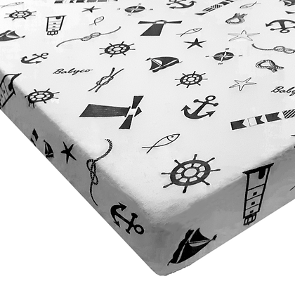 סדין טריקו ג'רסי Jersey  ללול (מתאים למיטת מטר) - מודפס - מגדלור שחור