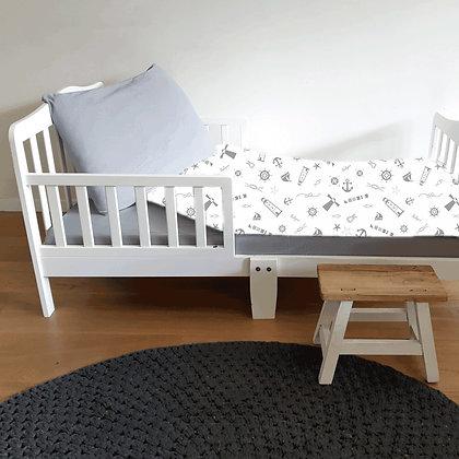 סט מצעים למיטת מעבר - מגדלור אפור