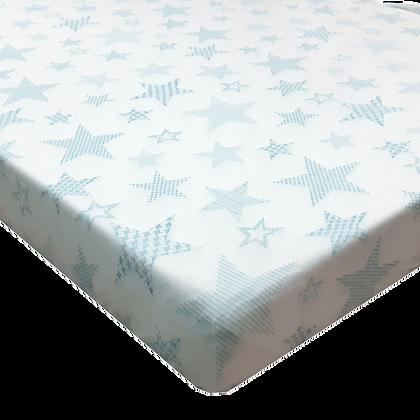 סדין טריקו למיטת תינוק/מעבר 130/70 - מודפס - כוכבים גדולים תכלת
