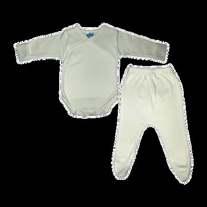 סט בגד גוף חזיה ורגלית לתינוק - פלנל - שמנת