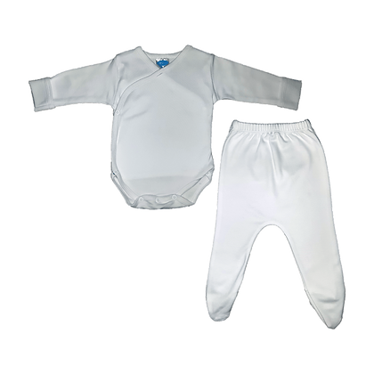 סט בגד גוף חזיה ורגלית לתינוק - פלנל- 100% כותנה - לבן
