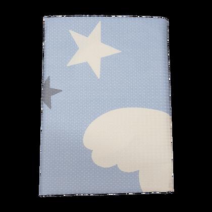 שמיכה פיקה וופל למיטת תינוק - כוכבים כחולים