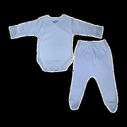סט בגד גוף חזיה ורגלית לתינוק - פלנל - תכלת
