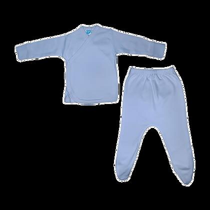 סט חזיה ורגלית לתינוק - פלנל- 100% כותנה - תכלת