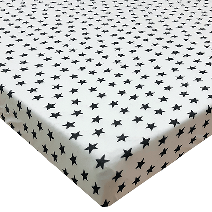סדין טריקו למיטת תינוק/מעבר 130/70 - מודפס - כוכבים בינוני שחור