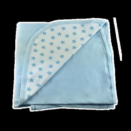 """שמיכה משולבת דו שכבתית - כוכבים בינוני תכלת - *130/90 ס""""מ"""