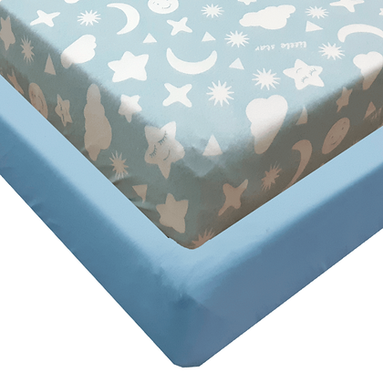 סט מצעים ג'רסי Jersey למיטת תינוק - מודפס -עננים תכלת