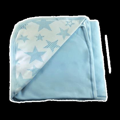 """שמיכה משולבת דו שכבתית - כוכבים גדולים תכלת - *130/90 ס""""מ"""