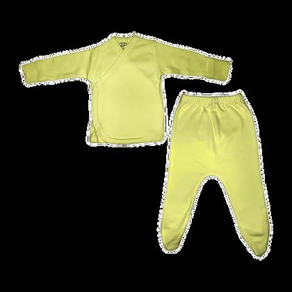 סט חזיה ורגלית לתינוק - פלנל- 100% כותנה - צהוב