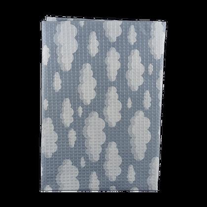 שמיכה פיקה וופל למיטת תינוק - עננים אפורים