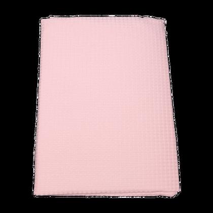 שמיכה פיקה וופל למיטת תינוק - ורוד חלק