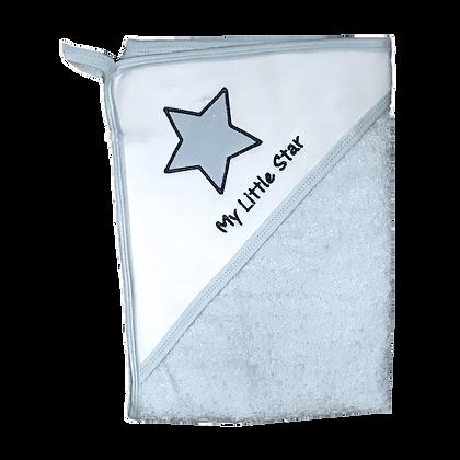 מגבת חיבוקי עם קפוצ'ון עבה וגדולה במיוחד - כוכב קטן שלי תכלת