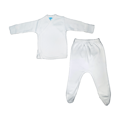 סט חזיה ורגלית לתינוק - פלנל- 100% כותנה - לבן