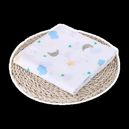 שמיכה / חיתול טטרה -  רך וגדול במיוחד 110/110 - עננים וכוכבים