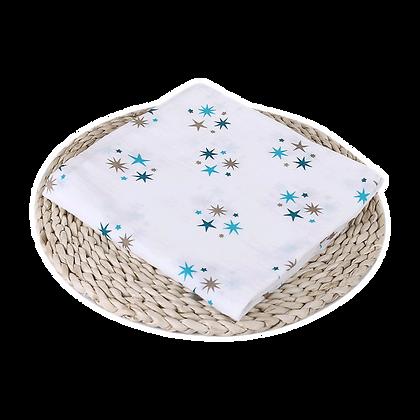 שמיכה / חיתול טטרה -  רך וגדול במיוחד 110/110 - כוכבים ירוק