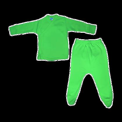 סט חזיה ורגלית לתינוק - פלנל- 100% כותנה - ירוק