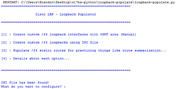 Populating Loopbacks/Routes for a Cisco lab using Python