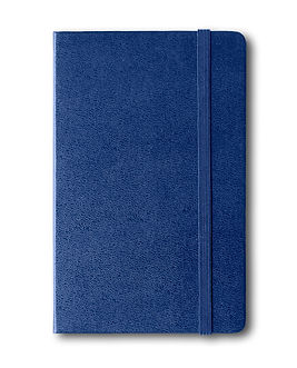 Marine blue closed notebook mockup isola