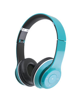 Blue headphones isolated on a white back