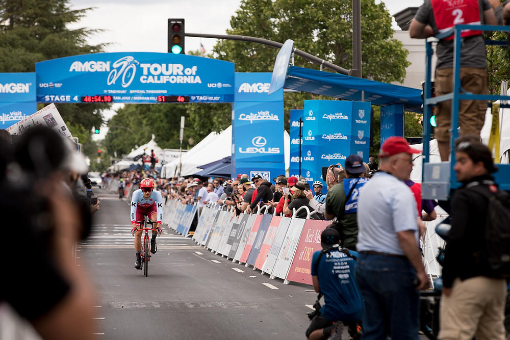 The AMGEN finish line in downtown Morgan Hill