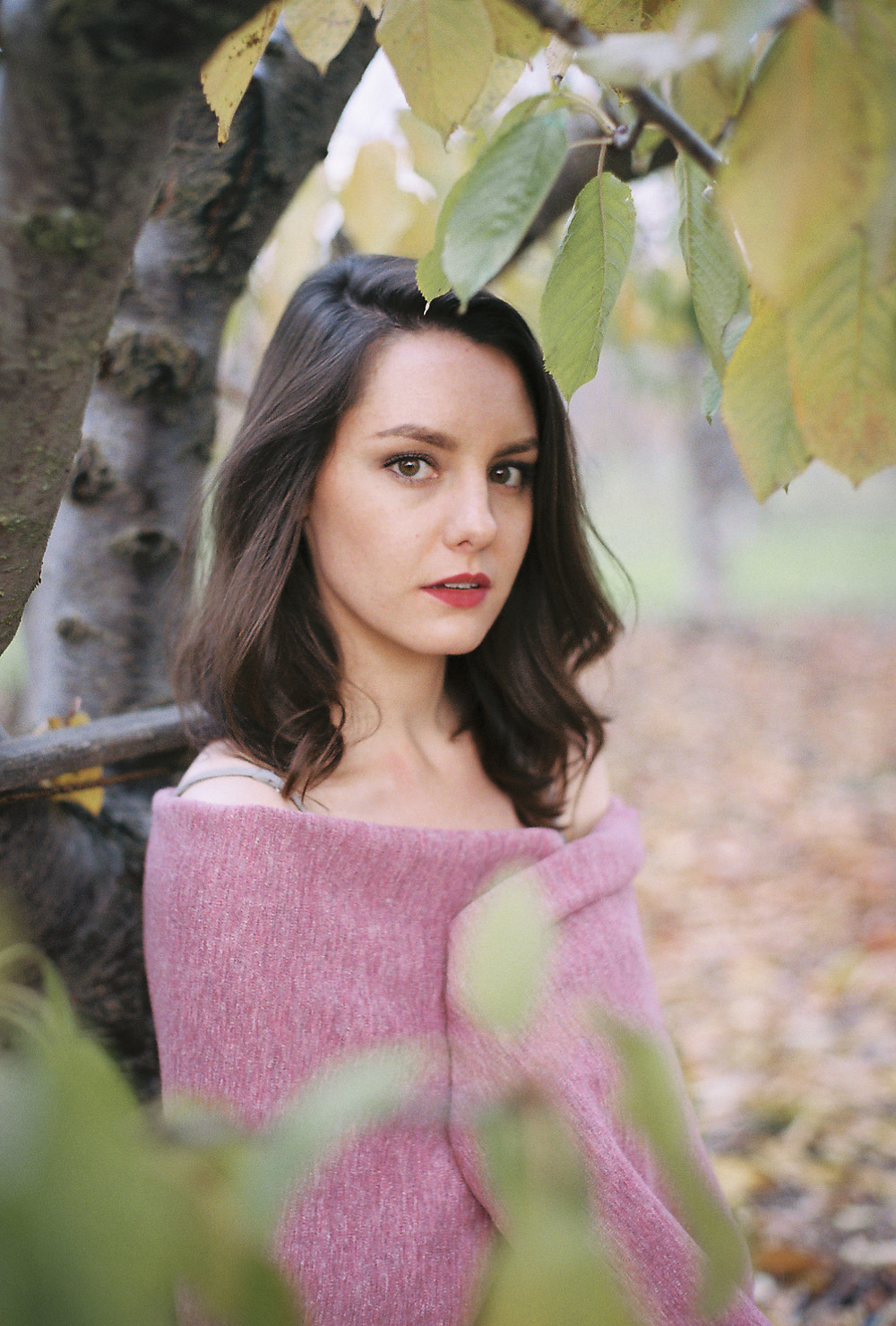A film portrait photograph of the model sitting underneath the pear tree at Martial Cottle Park.