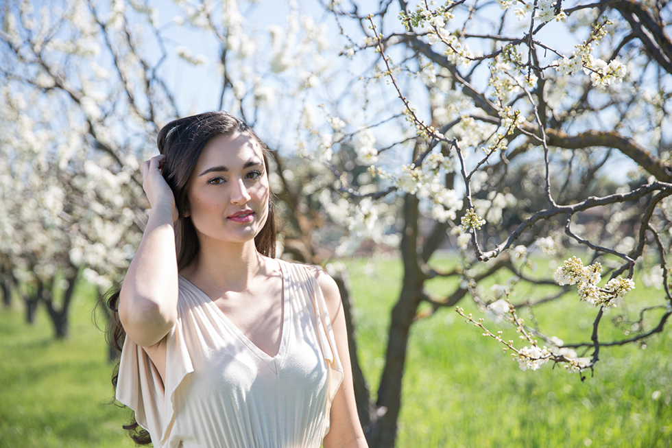 College Graduation Portrait Session in an orchard