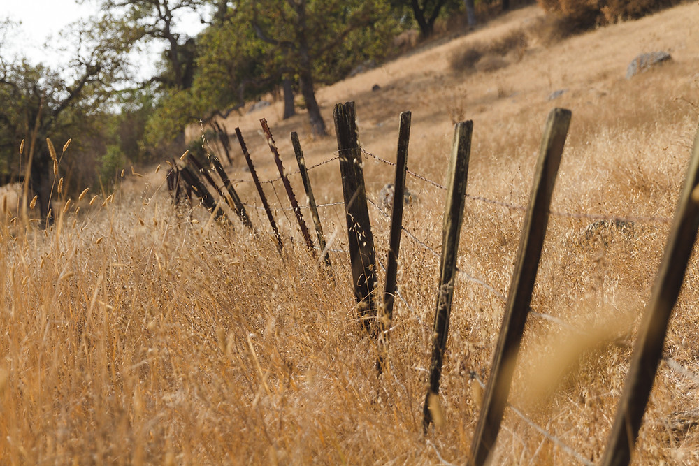 an old fence with barbed wire