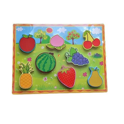 Encaje de madera frutas