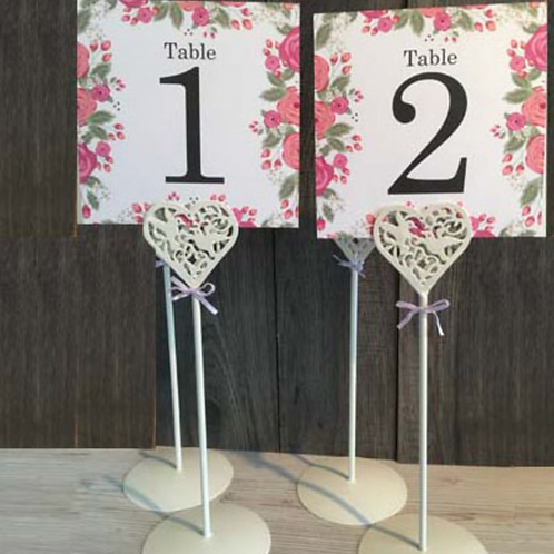 Cream heart table number holders