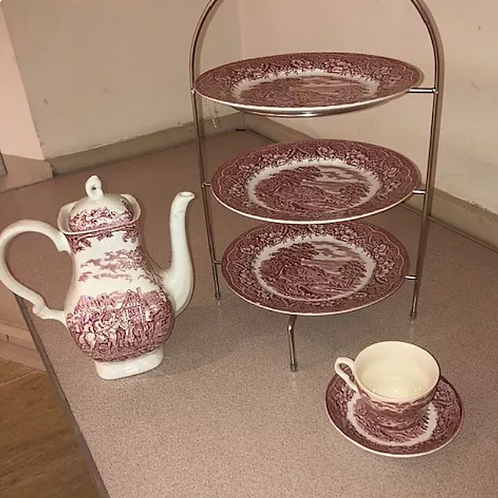 Afternoon Tea cups & saucers, Pink china pattern or plain cream