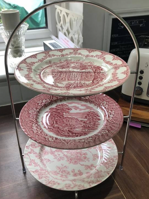 3-tier Afternoon tea set in plain cream or pink china pattern