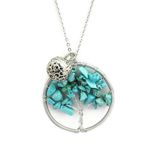 Chakra Tree Turquoise Essential Oil Diffuser Necklace