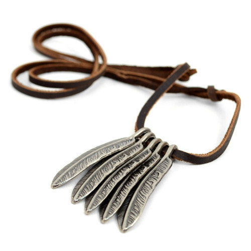 Vintage Feather Leather Necklace