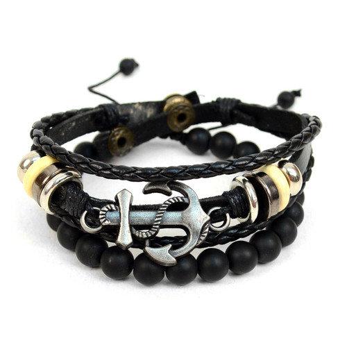 Genuine Leather & Stone Men Bracelet Set